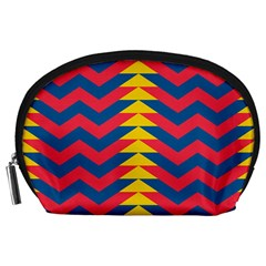 Lllustration Geometric Red Blue Yellow Chevron Wave Line Accessory Pouches (large)  by Mariart