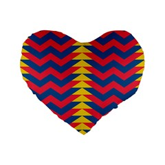 Lllustration Geometric Red Blue Yellow Chevron Wave Line Standard 16  Premium Flano Heart Shape Cushions by Mariart