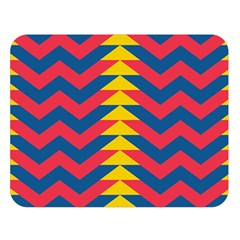 Lllustration Geometric Red Blue Yellow Chevron Wave Line Double Sided Flano Blanket (large)  by Mariart