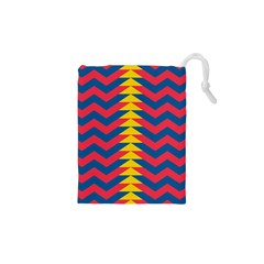 Lllustration Geometric Red Blue Yellow Chevron Wave Line Drawstring Pouches (xs)  by Mariart