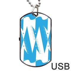 Make Tessellation Bird Tessellation Blue White Dog Tag Usb Flash (one Side) by Mariart