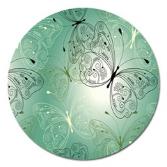 Glass Splashback Abstract Pattern Butterfly Magnet 5  (round) by Mariart