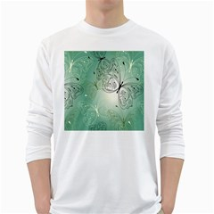 Glass Splashback Abstract Pattern Butterfly White Long Sleeve T Shirts