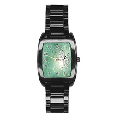 Glass Splashback Abstract Pattern Butterfly Stainless Steel Barrel Watch by Mariart