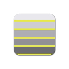 Molly Gender Line Flag Yellow Grey Rubber Square Coaster (4 Pack)  by Mariart