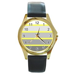 Molly Gender Line Flag Yellow Grey Round Gold Metal Watch by Mariart