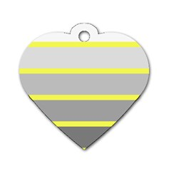 Molly Gender Line Flag Yellow Grey Dog Tag Heart (one Side) by Mariart