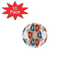 Make Tessellation Fish Tessellation Blue White 1  Mini Buttons (10 Pack)  by Mariart