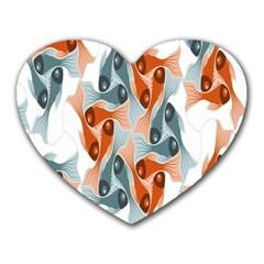 Make Tessellation Fish Tessellation Blue White Heart Mousepads by Mariart