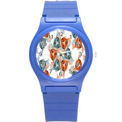 Make Tessellation Fish Tessellation Blue White Round Plastic Sport Watch (s) by Mariart