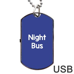 Night Bus New Blue Dog Tag Usb Flash (two Sides) by Mariart