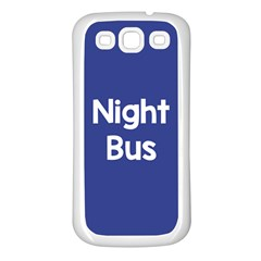 Night Bus New Blue Samsung Galaxy S3 Back Case (white) by Mariart