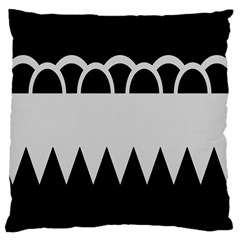 Noir Gender Flags Wave Waves Chevron Circle Black Grey Large Cushion Case (two Sides) by Mariart