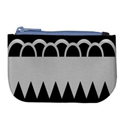 Noir Gender Flags Wave Waves Chevron Circle Black Grey Large Coin Purse by Mariart