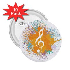 Musical Notes 2 25  Buttons (10 Pack)  by Mariart