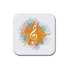 Musical Notes Rubber Square Coaster (4 Pack)  by Mariart