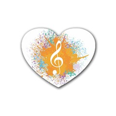 Musical Notes Rubber Coaster (heart)  by Mariart