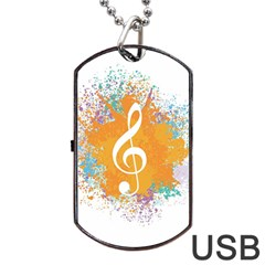 Musical Notes Dog Tag Usb Flash (two Sides) by Mariart