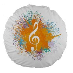 Musical Notes Large 18  Premium Flano Round Cushions by Mariart