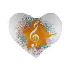 Musical Notes Standard 16  Premium Flano Heart Shape Cushions by Mariart