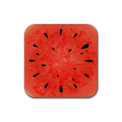Summer Watermelon Design Rubber Square Coaster (4 Pack)  by TastefulDesigns