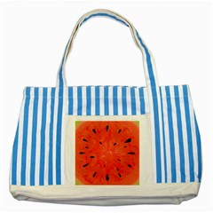 Summer Watermelon Design Striped Blue Tote Bag by TastefulDesigns