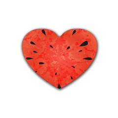Summer Watermelon Design Rubber Coaster (heart)  by TastefulDesigns