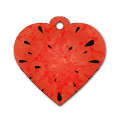 Summer Watermelon Design Dog Tag Heart (one Side) by TastefulDesigns