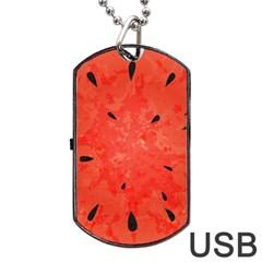 Summer Watermelon Design Dog Tag Usb Flash (one Side) by TastefulDesigns