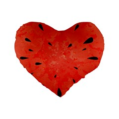 Summer Watermelon Design Standard 16  Premium Flano Heart Shape Cushions by TastefulDesigns