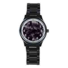 Map Curves Dark Stainless Steel Round Watch by Mariart