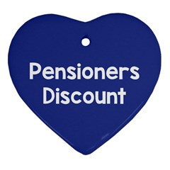 Pensioners Discount Sale Blue Heart Ornament (two Sides)