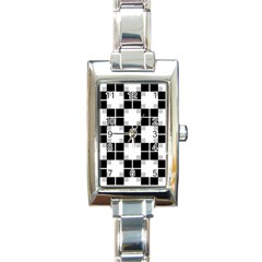 Plaid Black White Rectangle Italian Charm Watch by Mariart