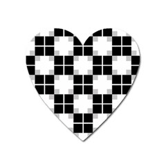 Plaid Black White Heart Magnet by Mariart