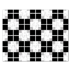 Plaid Black White Rectangular Jigsaw Puzzl by Mariart