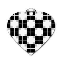Plaid Black White Dog Tag Heart (one Side) by Mariart