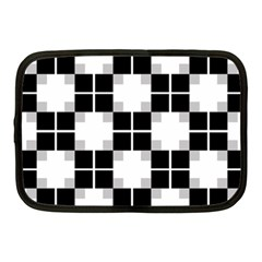 Plaid Black White Netbook Case (medium)  by Mariart