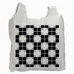 Plaid Black White Recycle Bag (two Side)  by Mariart