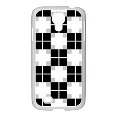 Plaid Black White Samsung Galaxy S4 I9500/ I9505 Case (white) by Mariart