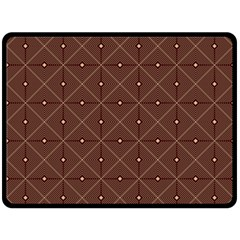 Coloured Line Squares Brown Plaid Chevron Double Sided Fleece Blanket (large)  by Mariart