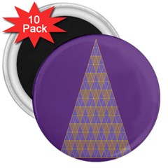 Pyramid Triangle  Purple 3  Magnets (10 Pack)  by Mariart