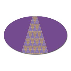 Pyramid Triangle  Purple Oval Magnet by Mariart