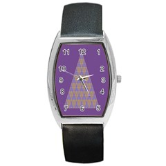 Pyramid Triangle  Purple Barrel Style Metal Watch by Mariart