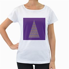Pyramid Triangle  Purple Women s Loose Fit T Shirt (white) by Mariart