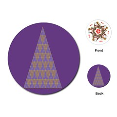 Pyramid Triangle  Purple Playing Cards (round)  by Mariart
