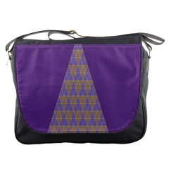 Pyramid Triangle  Purple Messenger Bags by Mariart