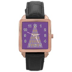 Pyramid Triangle  Purple Rose Gold Leather Watch  by Mariart