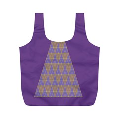 Pyramid Triangle  Purple Full Print Recycle Bags (m)  by Mariart