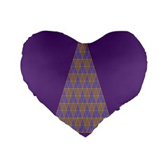 Pyramid Triangle  Purple Standard 16  Premium Flano Heart Shape Cushions by Mariart