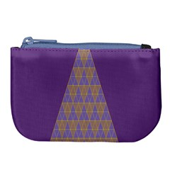 Pyramid Triangle  Purple Large Coin Purse by Mariart